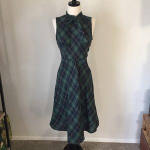 Retro Plaid Tie Neck Dress Shein M
